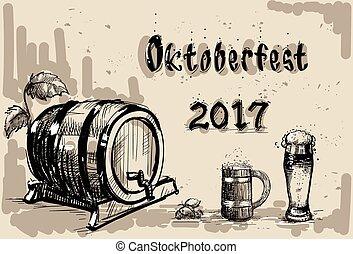 Beer Barrel Glass Sketch Oktoberfest Festival Banner - Beer...