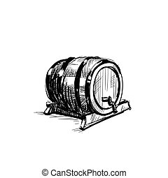 Beer Barrel Wooden Icon Sketch Oktoberfest Festival Banner...