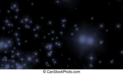blue particles flying in universe...