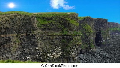 A 4k HDR close up view of the world famous Cliffs of Moher...