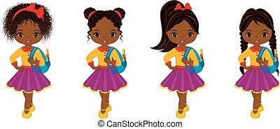 Vector Cute Little African American Girl with School Bags