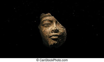 Damaged Ancient Face Carving - Ancient carved stone face...