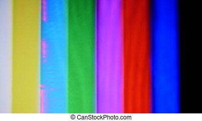 VHS Tape Color Bars Test Pattern Damage. Color bars test...