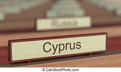 Cyprus name sign among different countries plaques at...