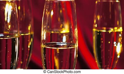 Close up shot of sparkling wine or Champagne