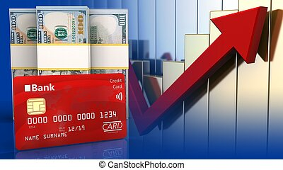3d bank card - 3d illustration of dollar over rising charts...