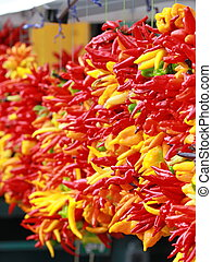 Chili peppers at a produce stand - Fire hot chili peppers...