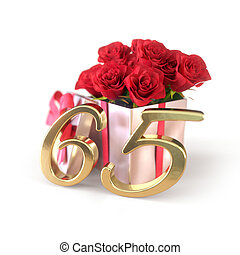 sixtyfifth, concetto,  render, regalo, rose, isolato, fondo, compleanno, bianco,  65th, rosso,  3D