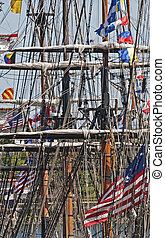Lines, spars and masts of a square rigger in the Montreal...