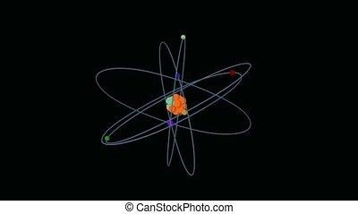 Atom turning around on a black background
