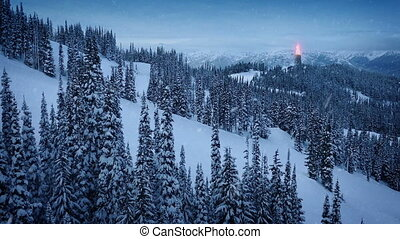 Fire Beacon Burning On Snowy Mountainside - Beacon in the...