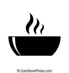 bowl hot plate soup black icon on white background