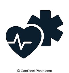 medical star life heart pulse icon on white background