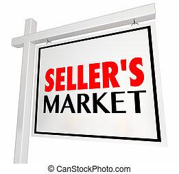 Sellers Market House Home for Sale Real Estate Sign 3d Illustration