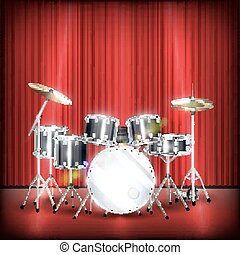 real drum set on a show stage