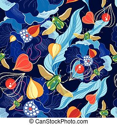 Vector pattern of beetles and herbs - Vector bright floral...