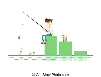 Businessman with fishing rod icon. Idea generation and...