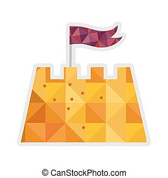 Sand castle isolated vector icon - Sand castle isolated...