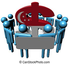 people and Singapore Dollar illustration - Circle of...