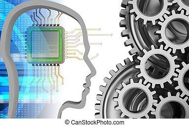 3d digital - 3d illustration of chip over white background...