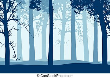 Vector illustration of blue tree trunks with branches in forest