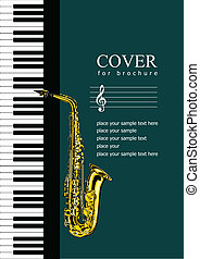 Cover for brochure with Piano and saxophone Vector...