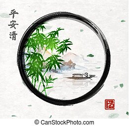 Green bamboo trees, island with mountains and fishing boat...