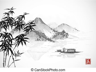 Fishing boat and island with mountains. Traditional oriental...