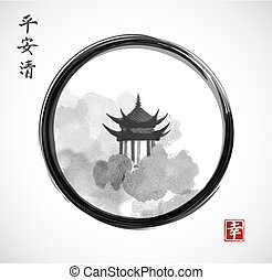 Pagoda temple and forest trees in black enso zen circle on white background. Traditional oriental ink painting sumi-e, u-sin, go-hua. Hieroglyphs - spirit, peace, clarity.