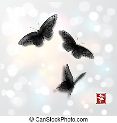 Butterflies hand drawn with ink on white glowing background. Traditional oriental ink painting sumi-e, u-sin, go-hua. Minimalistic vector illustration. Contains hieroglyph - beauty.