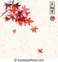 Red japanese maple leaves on handmade rice paper background....