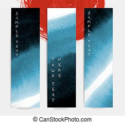 Abstract blue ink wash banners in asian style. Traditional Japanese ink painting sumi-e.