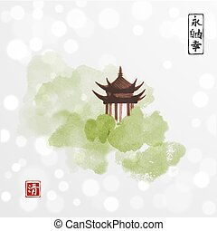 Pagoda temple and green forest trees on white glowing background. Traditional oriental ink painting sumi-e, u-sin, go-hua. Contains hieroglyphs - eternity, freedom, happiness
