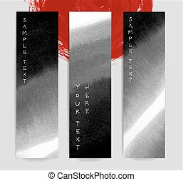 Abstract black ink wash banners in asian style. Traditional Japanese ink painting sumi-e.