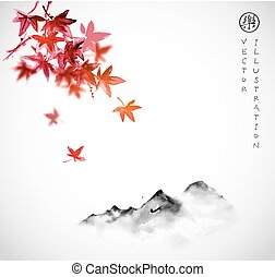 Red japanese maple leaves and far mountains in fog on white...