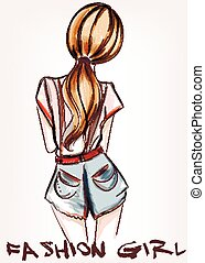 Fashion illustration with beautiful girl standing back.eps -...