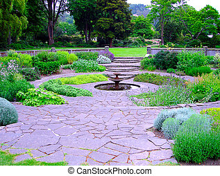 Circular Herb Garden with Fountain Dunedin Botanic Gardens,...