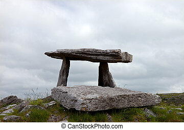 Megalithic tomb, Ireland - Anchient megalithic stone tomb at...