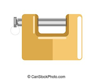 Lock with latch and shiny yellow corpus isolated...