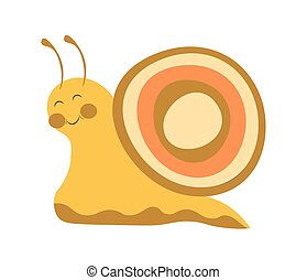Adorable snail with colorful shell and long antennae -...