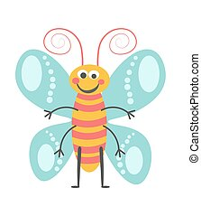 Cheerful butterfly with curled antennae and striped body -...