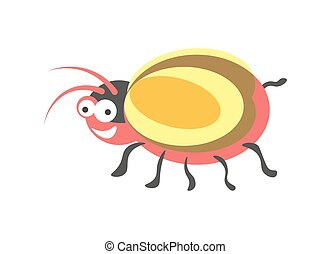 Ridiculous red round bug with yellow wings and small tail -...