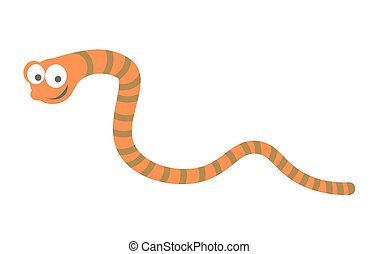 Funny striped earthworm with big eyes isolated illustration...