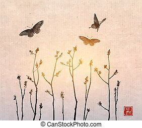 Black Tree branches with fresh leaves and big butterflies on vintage background. Traditional oriental ink painting sumi-e, u-sin, go-hua. Contains hieroglyph - beauty