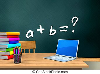 3d table - 3d illustration of schoolboard with math exercise...