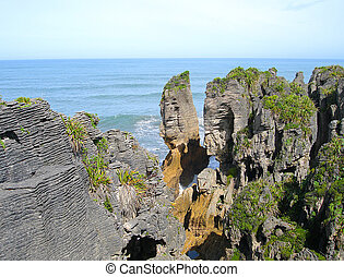 Pancake Rocks, New Zealand - Pancake Rocks - formed by...