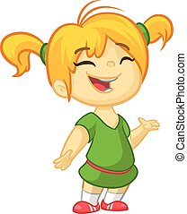 Blond small girl in a green dress presenting. Holiday vector illustration cartoon style for greeting card, poster, banner. Blond teenager girl standing talking summer illustration
