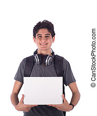 Young student smiling - Smiley happy friendly young student...