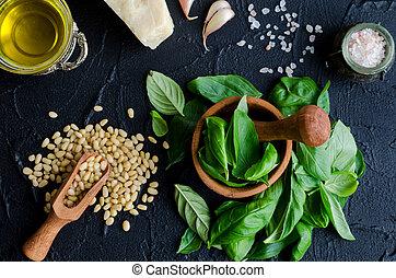 Green basil pesto ingredients - Fresh ingredients for pesto...