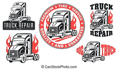 Set of vector logos. Truck repair.